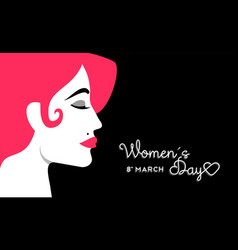 womens day 8 march design with girl face vector image