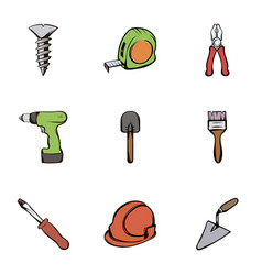 work tools icons set cartoon style vector image