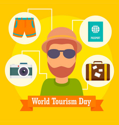 world tourism day icon background flat style vector image