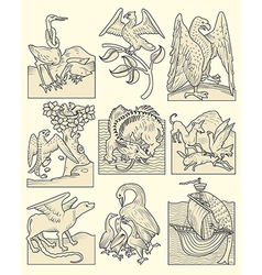 animals and medieval scenes vector image