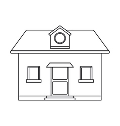 front view home round window loft outline vector image
