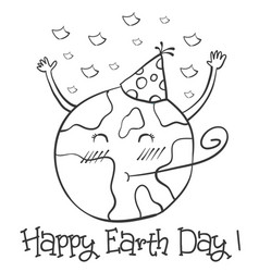 hand draw earth day with world vector image vector image