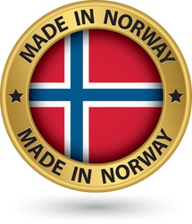 Made in Norway gold label with flag vector image