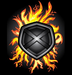 metal steel shield fire flames background vector image vector image