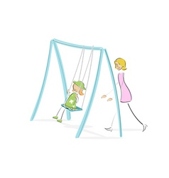 mom pushing daughter on swing vector image vector image