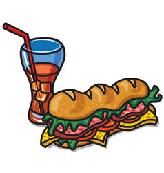 sandwich with cola vector image
