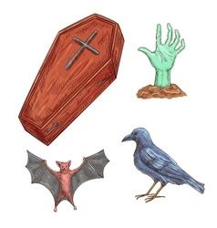 Set of Halloween decoration elements vector image