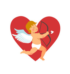 valentines day design funny cupid with bow and vector image