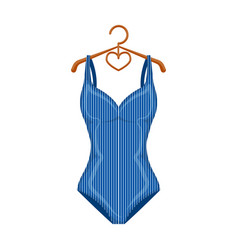 blue women stripe swimsuit clothes for swimming vector image vector image