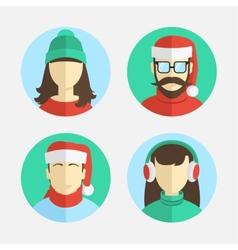 flat design men and women in winter hats vector image vector image