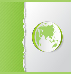 green torn paper with earth vector image