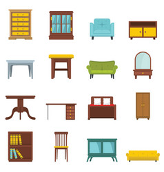set flat cartoon office and house furniture vector image