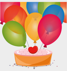 sweet cake birthday heart balloons vector image vector image