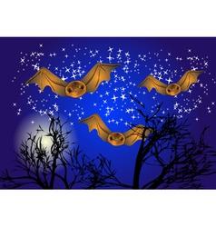 bats in night sky vector image