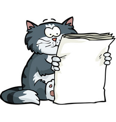 cat is reading the newspaper vector image