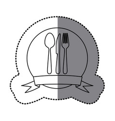 figure emblem cutlery tools icon vector image