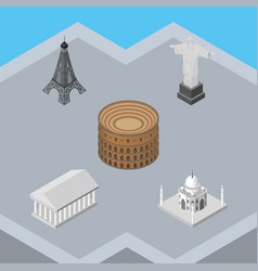 Isometric travel set of athens rio india mosque vector