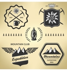 Mountain hiking outdoor symbol emblem label vector image