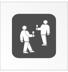 People icon Two persons with drinks Meeting vector image vector image