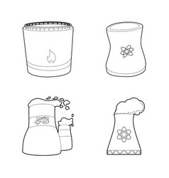 power plant icon set outline style vector image