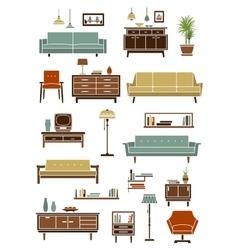 Retro furniture with interior accessories vector image