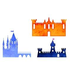 set of watercolor castle vector image