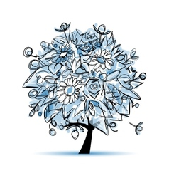 Frozen winter tree floral for your design vector image