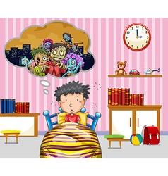 Little boy having nightmare vector image