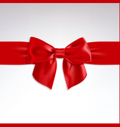 red bow of satin ribbon vector image