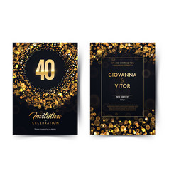 40th years birthday black paper luxury vector