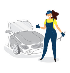 a female auto mechanic mechanic in flat style vector image