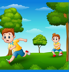 A frightened kid running because disturbed naughty vector