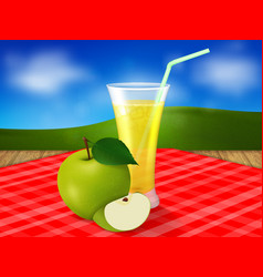 a glass of apple juice on a red tablecloth vector image