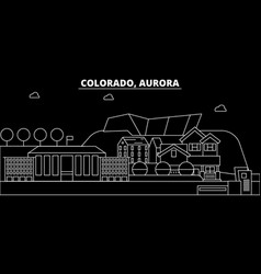 Aurora silhouette skyline usa vector