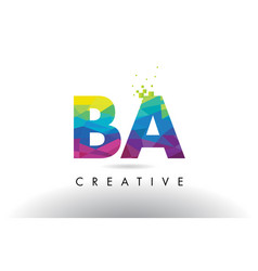 Ba b a colorful letter origami triangles design vector