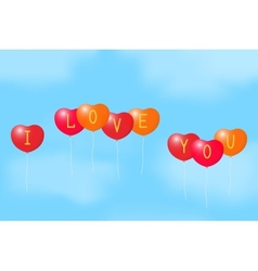 Balloons with a declaration of love vector