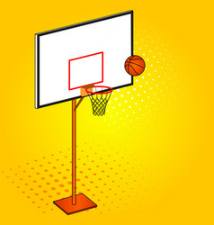 Basketball hoop and ball object pop art vector