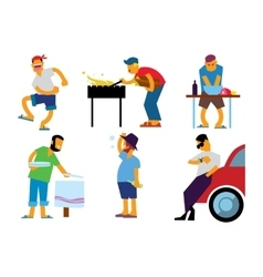 BBQ people isolated on white background vector image