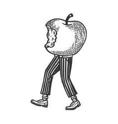 Bitten apple walks on its feet engraving vector