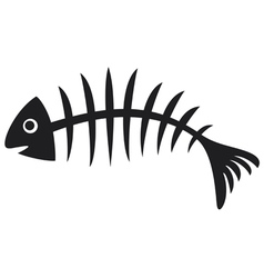 black fish bone vector image