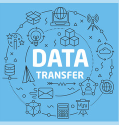 Blue line flat circle data transfer vector