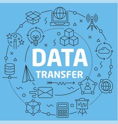 blue line flat circle data transfer vector image
