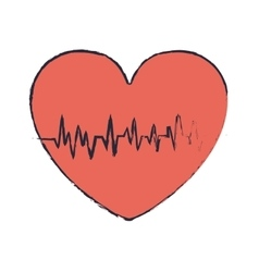 Blur red heart with signs of life vector