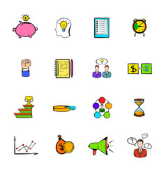 business planning icons set cartoon vector image