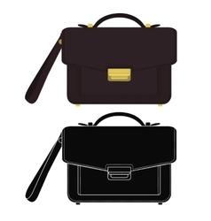 Businessman leather hand bag Color silhouette vector image