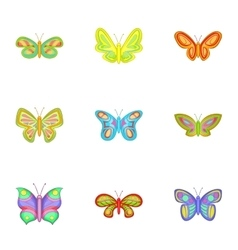Butterfly icons set cartoon style vector