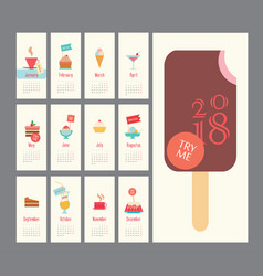 Calendar 2018 ice cream set flat design dessert vector