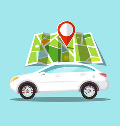 car icon with pin on map gps navigation symbol vector image