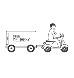 cartoon free delivery motorcycle isolated vector image