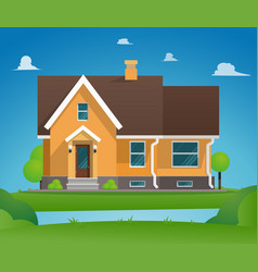 cartoon residential townhouse vector image